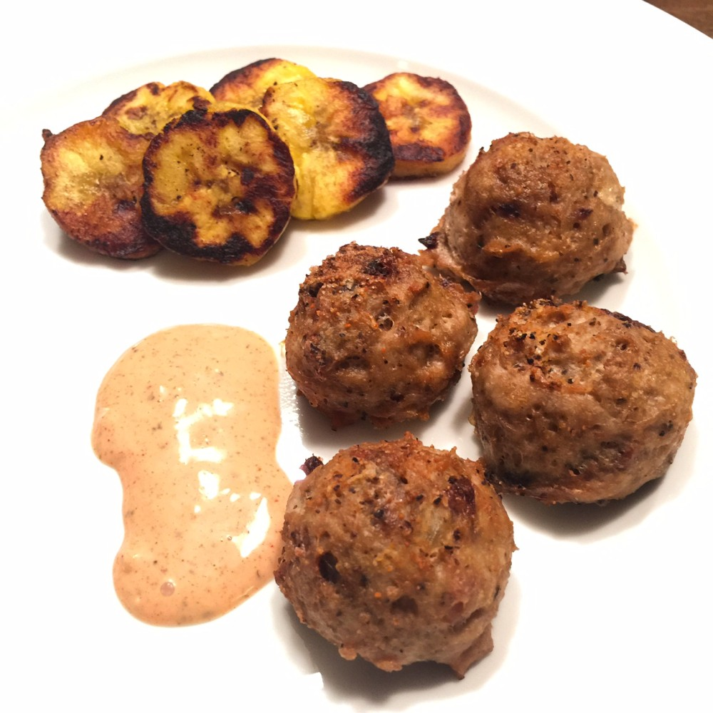 cuban meatballs and pan-fried plantains