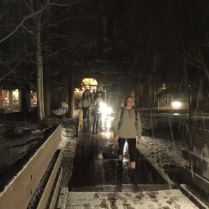 snow leaving chapel